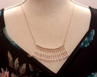 Pink & White Beaded Fan Shape Necklace, Fashion Dangle Women's Necklace, Handmade