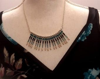 Blue & Black Beaded Fan Shape Necklace, Fashion Dangle Women's Necklace, Handmade