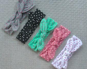 SALE baby headband-dot baby headwrap bow-turban headband-Top knot headband Baby-Polka Dot-Baby Headwrap-Girls Headwrap-Knot Headband