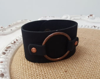 Black leather  and copper cuff