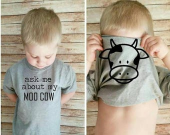 Ask me about my moo cow toddler cow face underneath shirt cow on inside ask me about my cow shirt