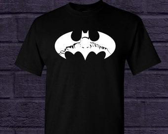 992266f2 UNISEX Batman Shirt - BLACK - 100% Cotton - Silhouette Girl Boy Fandom  Symbol Gotham City Dark Comics Colors Knight Caped Crusader - Style 1