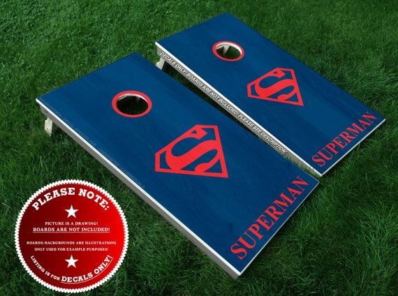 Prime Superman Cornhole Board Decals Bean Bag Toss Diy Vinyl Sticker Set Includes 2 Rings Superhero Movie Justice League Metropolis Kent Inzonedesignstudio Interior Chair Design Inzonedesignstudiocom