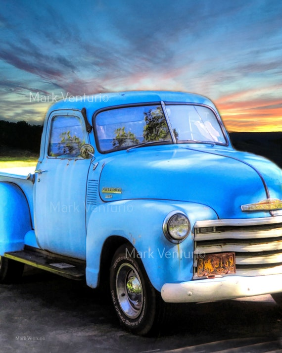 Blue Chevy Silverado >> Chevy Truck Print Old Blue Chevrolet Truck Photograph Vintage Chevy Truck Fine Art Photography Junkyard Art Garage Art Old Truck Art