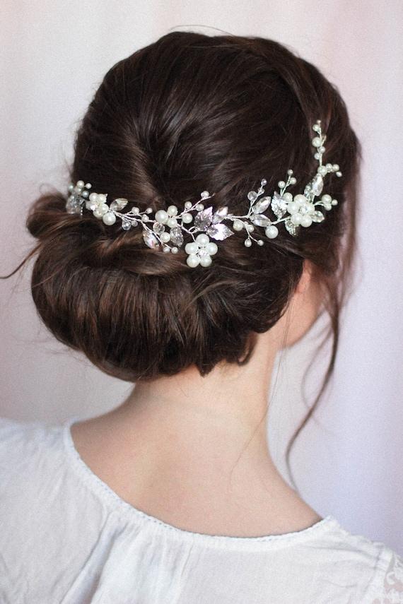 Flower Hair Piece Pearl Bridal Headpiece Bridal Headdress Etsy
