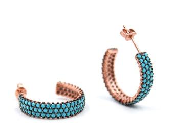 5.5mm, Half Hoop Earrings, Half Hoop Turquoise, Rose Gold Hoops, Turquoise Hoops, Gemstone Hoops, Turquoise Studs, Turquoise Earrings
