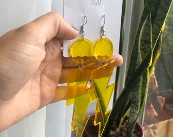 Yellow Bolt Earrings Etsy