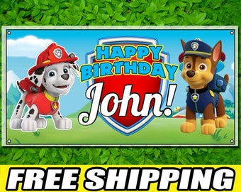 Paw Patrol Printed Happy Birthday Vinyl Banner Personalized Custom Name