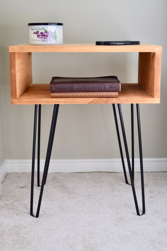 outlet store e6e0d 82176 Minimalist hairpin bedside table, Modern hairpin leg side table, Mid  century side table, Modern Nightstand, Industrial Hairpin leg