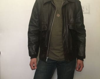 bfdc5f2ea2e3 Sears Leather Shop 80 s Brown Leather Jacket Size 40