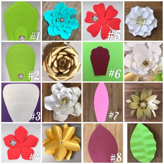 Giant paper flower templates step by step paper flower etsy image 0 mightylinksfo