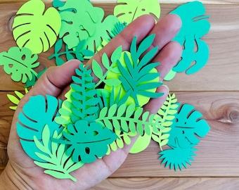 Tropical Palm Leaves Confetti, jungle party decor, botanical decor, green palm leaves, monstera leaf, banana tree leaf, fern cutouts, safari