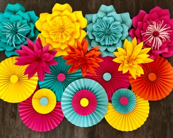 Fiesta Paper Flowers, Paper Flower Wall Decor, Cinco de Mayo, Colorful paper flowers, aloha party, moana party decor