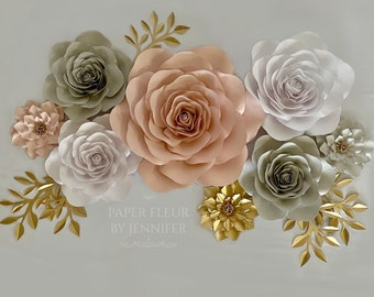 Nursery Paper Flower Set, Blush Pink, gray and white paper flowers with gold accents, Nursery Rose set, Wedding sweetheart table