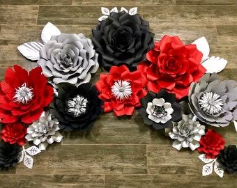 Graduation paper flowers, graduation decor, red, black and silver paper flowers, paper flower backdrop, paper flower wall, graduation ideas