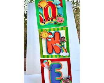 Cocomelon box letters, ONE 3D letters, cocomelon box names, letter props, cocomelon decor, personalized cocomelon letters, 3d numbers
