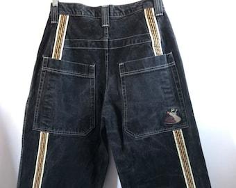 d937a71168 Vintage 90s Jnco Jeans Slug Baggy Extra Wide Black Denim Skater Pants 31  Waist 26 inch trail 1990s Skateboard