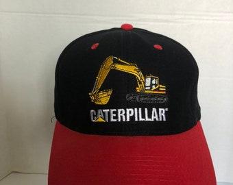 2763fcf0661d8 Vintage 1980s 1990s Caterpillar 336 Excavator Snapback hat red and black  CAT logo baseball cap