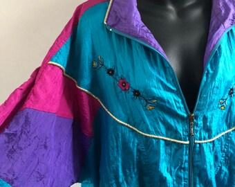 1d64b24e0 Vintage 80s 90s Multicolor Windbreaker Jacket Womens XL Vaporwave Clubwear