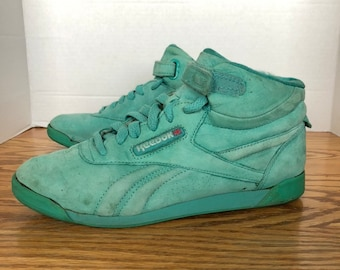 d7ee15d8938f1b Vintage 80s Reebok Freestyle Sneakers Aqua Suede Leather Womens 9 1 2 Leather  Hi Top Shoes 1980s style icon