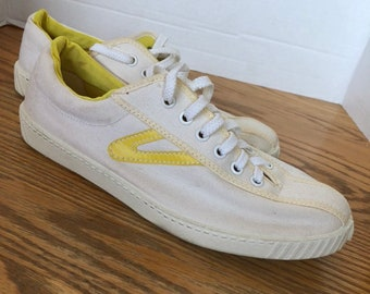 Vintage 1980s Tretorn Sneakers Yellow and White Deadstock size 8 1 2 New  Wave Retro 80s style 28e5a2fc945ac