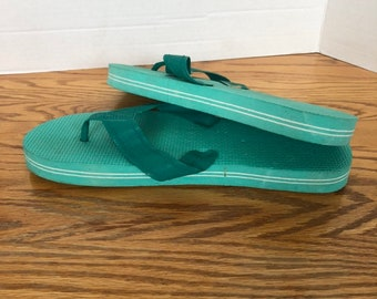 18c9ac58c77ac6 Deadstock Vintage 80s Striped Sole Flip Flops Mint Green Mens 11 sandals  shoes 1980s