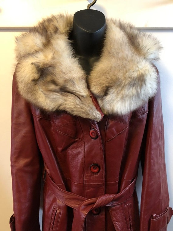 Gorgeous 1970s Burgundy Leather Belted Trench Coat
