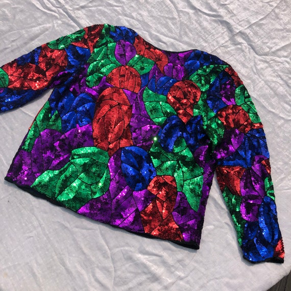 1980s 1990s Sequined Dress Jacket Womens XL Gorgeo