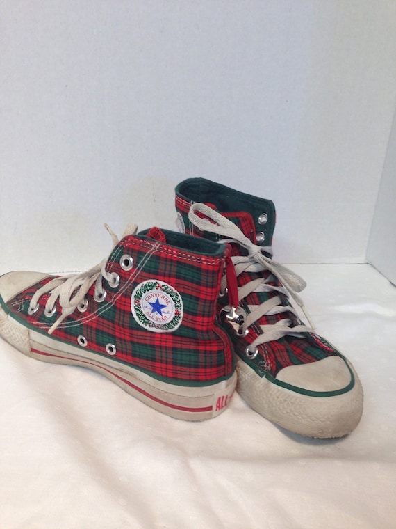 Vintage 1980s Made in USA Converse All Stars Hi Tops Christmas Edition Plaid Jingle Bells Chuck Taylors Chucks size 2