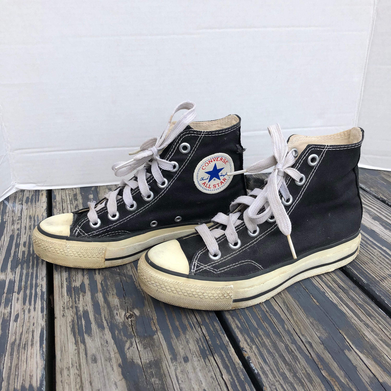Vintage 80s RARE Made in Korea Converse Chuck Taylor All Stars Hi Top Black Size 2 1/2