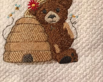 Embroidered Bear/Beehive Kitchen Towels. Set of 2.