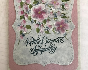 Handpainted sympathy card . Free shipping .