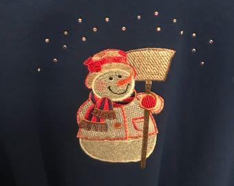 Embroidered Snowman Sweatshirt with Swarovski Crystals .