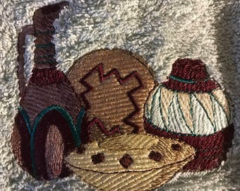 Embroidered pottery hand towels. Set of 2.