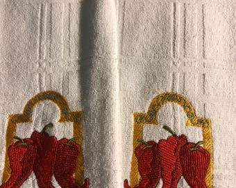 Embroidered chili peppers towels. Set of 2.
