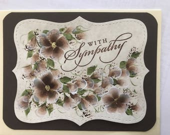 Handpainted Sympathy  Card. Free shipping.