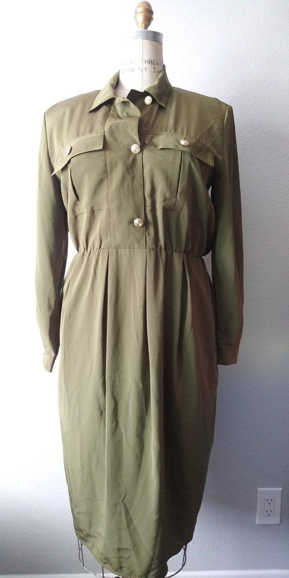 Vintage Plus Size Green Womens Shirt Dress 1980s -
