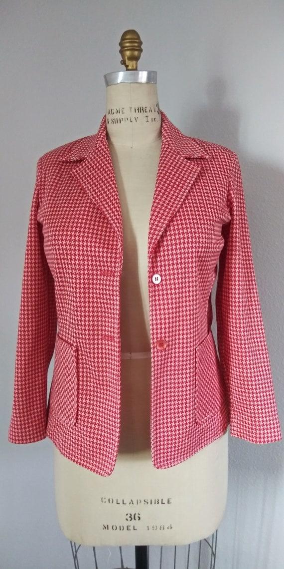 Plus Size Vintage Red & White Blazer