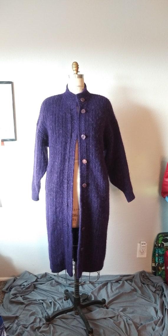 Vintage Purple Oversized Maxi Sweater - Womens - 1