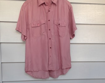 Vintage Dusty Rose Silk Button Down Shirt China