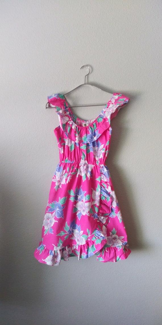 Vintage Pink Hawaiian Ruffle Dress