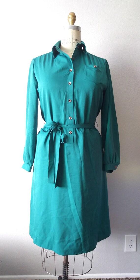 Vintage Plus Size Green Skirt Dress - Womens- 80s