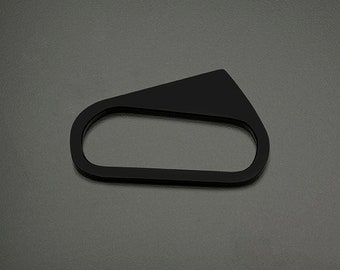Geometric modern architectural BLACK STAR acrylic hand accessory styled as a knuckle multi finger ring in Large