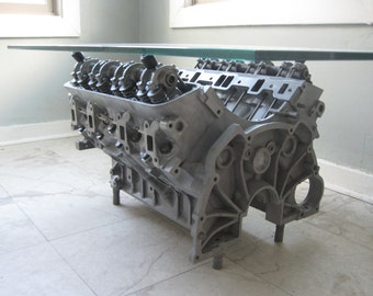 Custom Engine Coffee Table // Engine Table // Gearhead // Bachelor Pad // Man  Cave // Repurposed Furniture