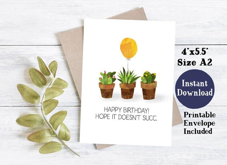 Birthday Card For Dad Funny Printable Birthday Card Cactus Birthday Card Printable Birthday Card Birthday Card Printable