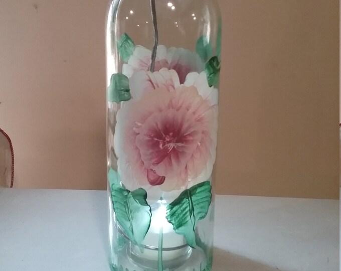 Hand painted wine bottle lantern