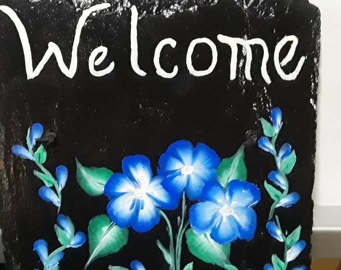Hand painted welcome sign slate