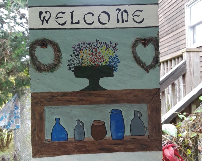 Hand painted welcome slate
