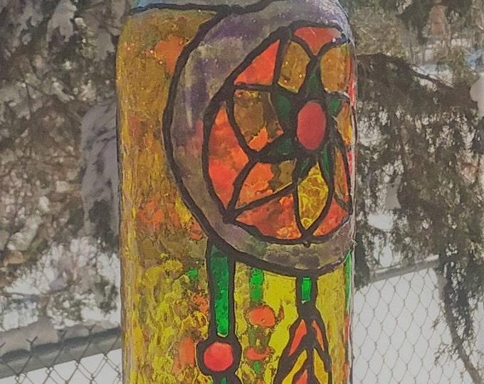 faux stained glass wine bottle lantern.
