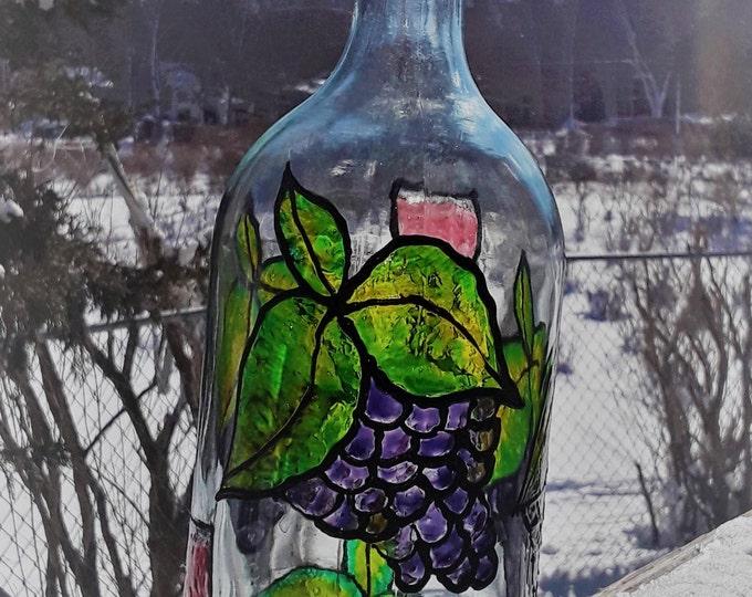 faux stained glass wine bottle lantern